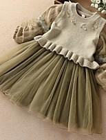 Недорогие -Дети Девочки Однотонный Платье Зеленый