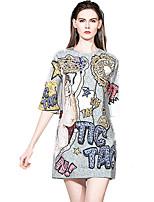Недорогие -Жен. Изысканный А-силуэт Платье - Буквы, С принтом Выше колена Синий и белый