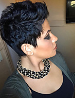 cheap -Human Hair Capless Wigs Human Hair Curly Bob  Pixie Cut  Layered Haircut Asymmetrical Style Cool Comfortable Natural Hairline Black Short Capless Wig All  Unisex African American Wig