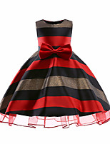 Недорогие -Дети Девочки Активный Милая Полоски Без рукавов До колена Платье Красный