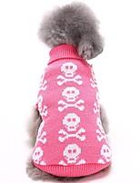 Недорогие -Собаки Свитера Одежда для собак Черепа Черный Розовый Серый Акриловые волокна Костюм Назначение Корги Гончая Шиба-Ину Зима Универсальные На каждый день Хэллоуин