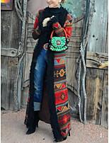 Недорогие -Жен. Повседневные Длинная Пальто, Геометрический принт Отложной Длинный рукав Полиэстер Красный