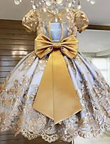 cheap -Kids Girls' Sweet Butterfly Jacquard Lace Short Sleeve Knee-length Dress Gold