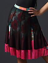 Недорогие -Латино Нижняя часть Жен. Учебный Ice Silk (искусственное волокно) С кисточками Юбки