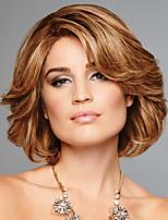 cheap -Human Hair Capless Wigs Human Hair Curly Natural Straight Layered Haircut Asymmetrical Side Part With Bangs Style Cool Fashion Comfortable Blonde Medium Length Capless Wig Women's / All