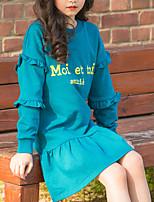 Недорогие -Дети Девочки Милая Симпатичные Стиль Буквы С принтом Длинный рукав До колена Платье Винный