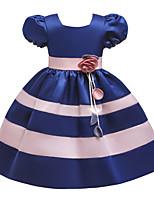 Недорогие -Дети Девочки Активный Милая Цветочный принт С короткими рукавами До колена Платье Синий