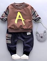 Недорогие -малыш Мальчики Уличный стиль В клетку Длинный рукав Обычный Набор одежды Светло-серый