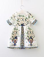 Недорогие -Дети Девочки Симпатичные Стиль Цветочный принт Платье Белый