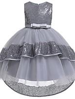 Недорогие -Дети Девочки Однотонный Кружева Пайетки Платье Лиловый