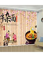 Недорогие -творческая цифровая печать китайского гурмана говядины рамэн шаблон 3d занавес тень занавес высокой точности черный шелк ткань высокого качества первоклассный занавес тени