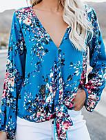 Недорогие -Жен. Рубашка Геометрический принт Синий