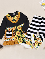 cheap -Kids Girls' Active Basic Vacation Festival Sun Flower Striped Floral Patchwork Long Sleeve Regular Regular Clothing Set Black
