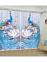 Недорогие -тисненый синий павлин креативный дизайн цифровая печать 3d занавес затенение творческий занавес высокой точности черный шелк ткань высокого качества первый класс затенение занавес