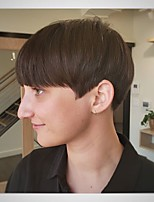 cheap -Human Hair Capless Wigs Human Hair Straight / Natural Straight Bob / Pixie Cut / Layered Haircut / Asymmetrical Style Cool / Comfortable / Natural Hairline Black / Burgundy Short Capless Wig All