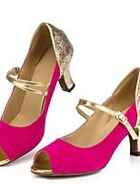 Недорогие -Жен. Танцевальная обувь Замша Обувь для латины Планка На каблуках Кубинский каблук Персонализируемая Пурпурный
