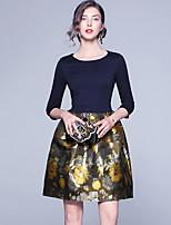 Недорогие -Жен. Изысканный А-силуэт Платье - Геометрический принт, Вышивка Выше колена Черный