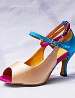Недорогие -Жен. Танцевальная обувь Сатин Обувь для латины Планка Кроссовки Тонкий высокий каблук Персонализируемая Телесный