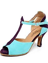 Недорогие -Жен. Танцевальная обувь Замша Обувь для латины Планка На каблуках Толстая каблук Персонализируемая Синий