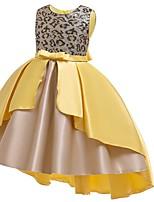 Недорогие -Дети Девочки Цветочный принт Пайетки Платье Желтый