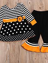 Недорогие -Дети Девочки Горошек Набор одежды Черный