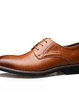 Недорогие -Муж. Комфортная обувь Кожа Наступила зима Туфли на шнуровке Черный / Коричневый / Желтый