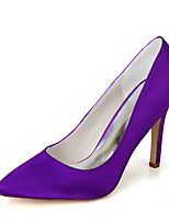 cheap -Women's Wedding Shoes Stiletto Heel Pointed Toe Minimalism Wedding Party & Evening Satin Solid Colored White Black Purple