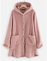 cheap -Women's Teddy Coat Long Solid Colored Daily Basic Blushing Pink Khaki L XL XXL