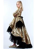 Недорогие -Дети Девочки Активный Однотонный Пайетки Длинный рукав Ассиметричное Платье Золотой
