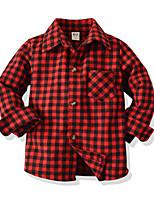 cheap -Kids Toddler Boys' Basic Street chic Houndstooth Long Sleeve Shirt Red