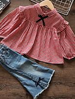 Недорогие -малыш Девочки Классический Шахматка Длинный рукав Обычный Набор одежды Красный