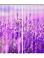 Недорогие -лаванда цветок кластер цифровая печать творческий 3d занавес тень занавес высокой точности черный шелк ткань высокого качества первый класс занавес тени