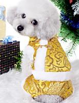 Недорогие -Собаки Коты Животные Инвентарь Одежда для собак С принтом Черный Желтый Красный Полиэстер Костюм Назначение Зима Этнический Новый год