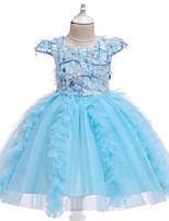 Недорогие -Дети Девочки Активный Милая Однотонный Сетка С короткими рукавами До колена Платье Синий