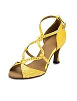 Недорогие -Жен. Танцевальная обувь Сатин Обувь для латины Стразы На каблуках Тонкий высокий каблук Персонализируемая Черный / Телесный / Желтый