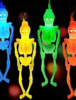 Недорогие -хэллоуин струнные огни украшения скелет огни череп огни 20 светодиодов 10.5 футов для Хэллоуина декор в помещении многоцветный белый теплый белый