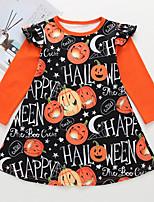 Недорогие -Дети Девочки Геометрический принт Платье Оранжевый