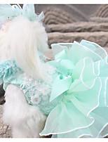 Недорогие -Собаки Коты Животные Платья Одежда для собак Цветочные / ботанический Оранжевый Зеленый Полиэстер Костюм Назначение Лето Свадьба