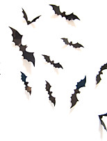 cheap -12pcs Black 3D DIY Bat Wall Stickers Halloween home decoration accessories