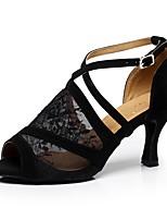 Недорогие -Жен. Танцевальная обувь Кружева Обувь для латины Планка На каблуках Толстая каблук Персонализируемая Черный