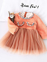 Недорогие -Дети Девочки Симпатичные Стиль Контрастных цветов Пэчворк Платье Розовый