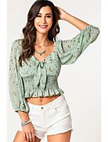 Недорогие -Жен. Бант / Оборки / Плиссировка Блуза Классический Цветочный принт Зеленый