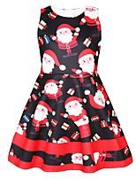 Недорогие -Дети Девочки Активный Милая Рождество С принтом Без рукавов До колена Платье Черный