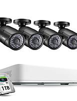 Недорогие -Система видеонаблюдения ZOSI 4CH H.265 HD 5.0MP с комплектом видеонаблюдения для камер видеонаблюдения для наружного и внутреннего видеонаблюдения 4 x 5МП HD
