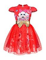 Недорогие -Дети Дети (1-4 лет) Девочки Активный Милая Мультипликация С принтом С короткими рукавами До колена Платье Пурпурный