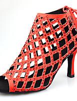 """Недорогие -Жен. Танцевальная обувь Синтетика Обувь для латины Лак / Кристаллы / Блеск На каблуках Каблук """"Клеш"""" Персонализируемая Черный / Красный"""