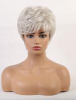 cheap -Human Hair Capless Wigs Human Hair Curly Bob / Pixie Cut / Layered Haircut / Asymmetrical Style Cool / Comfortable / Natural Hairline White Short Capless Wig Women's / All / African American Wig