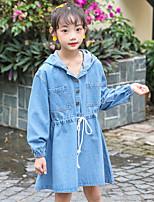 Недорогие -Дети Девочки Уличный стиль Однотонный Длинный рукав Выше колена Платье Синий