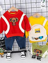 Недорогие -малыш Мальчики Активный / Классический С принтом С принтом Длинный рукав Обычный Обычная Набор одежды Желтый