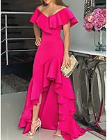 Недорогие -А-силуэт V-образный вырез Асимметричное Шифон Торжественное мероприятие Платье с Оборки от LAN TING Express